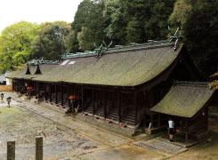 熊野神社の境内。本殿6棟の屋根は桧皮葺。凛とした境内を歩くだけで穏やかな気持ちに。