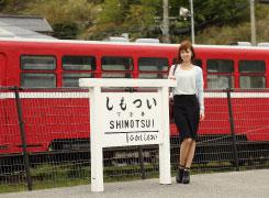 平成2年に廃線となった下津井電鉄の起点・旧下津井駅跡。ホームで電車と記念撮影!